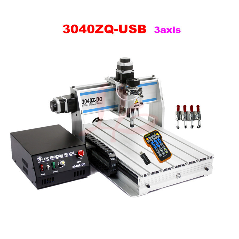 2017 New 3040ZQ-USB 3axis mini cnc router with mach3 remote control for metal wood PVC cheap price mini cnc router 2520t 3 axis 200w spindle for new user or school tranining
