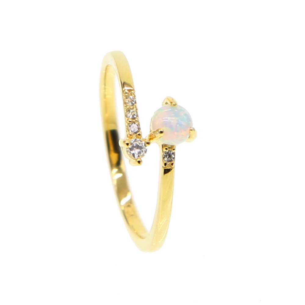 Delicate dainty fire opal open Rings gold color 2019 high quality 925 sterling silver AAA+ zirconia adjust fashion model ring