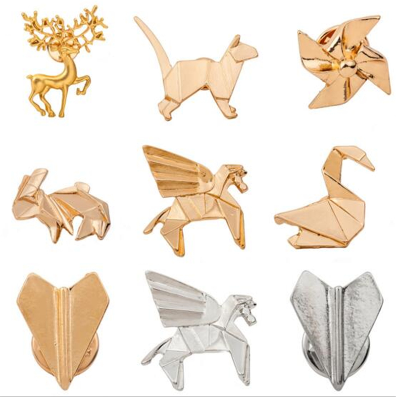 Online Shop 2016 Unique Design Origami Cat Deer Elk Antler Horse Rabbit Plane Brooches For Women Fashion Boho Chic Animal