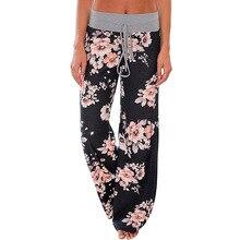 Лето 2017 г. Высокая талия широкие штаны женские повседневные Палаццо клеш брюки длинные брюки с цветочным принтом мода плюс Размеры 3XL