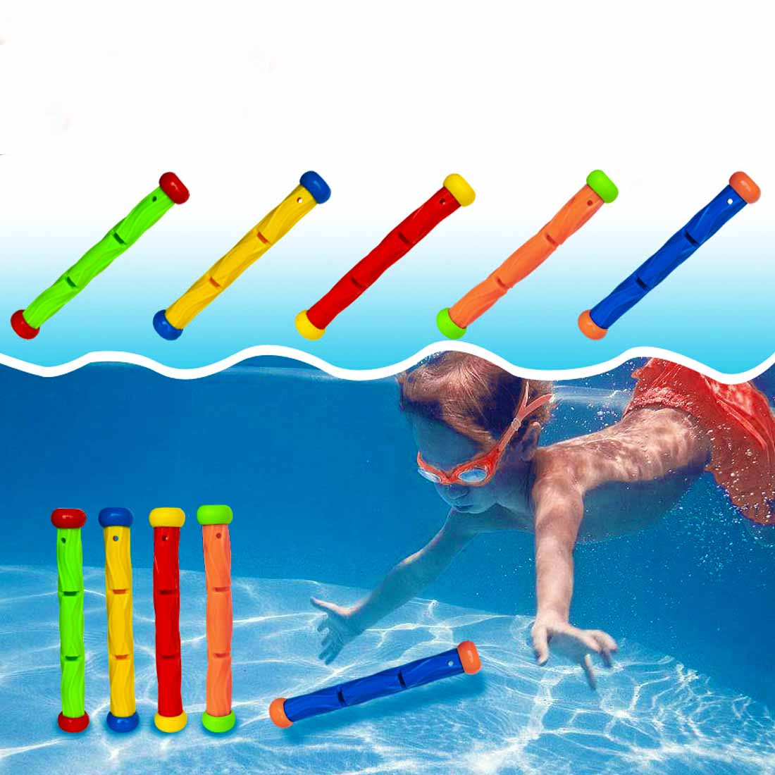 5Pcs/set Funny Kids Children Underwater Sports Swimming Pool Dive Game Stick Toys Diving Stick Toys Swimming Pool Accessories