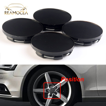 Reamocea 4Pcs Black Car Wheel Center Caps Hubs Covers Emblem 50.5mm For BMW VW Audi Ford Toyota Chevrolet Nissan Kia Mazda image