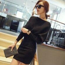 explosion 2016 new Korean women long sleeved slash collar sweater slim bat sleeve knit sheath dress