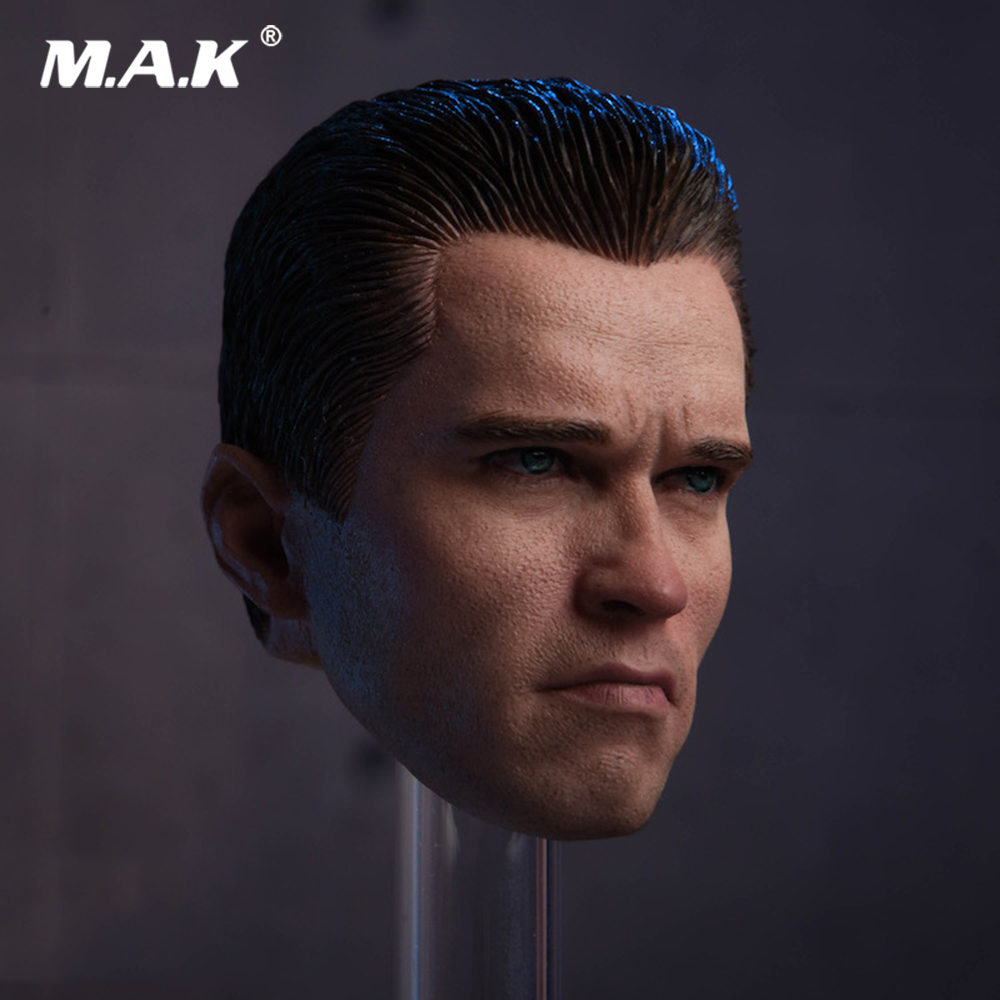 1/6 Scale Male Soldier Head Carved Accessory Terminator 2 T800 Arnold Head Sculpt Model for 12'' Action Figure Body gmasking terminator 2 t800 endoskeleton skull head statue scale 1 2 replica