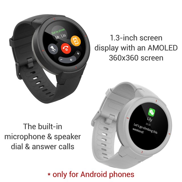 Amazfit Verge English Version Smartwatch 1.3-inch AMOLED Screen Dial & Answer Calls Upgraded HR Sensor GPS Smart Watch 2