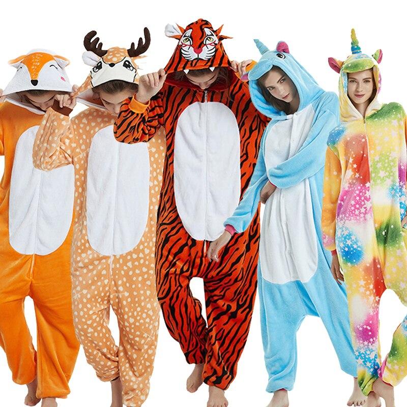 Greywalnut Unisex Pegasus Halloween Flannel Animal Autumn Unicorn Stitch Dinosaur Pajamas Sets Cartoon Sleepwear For Women Men