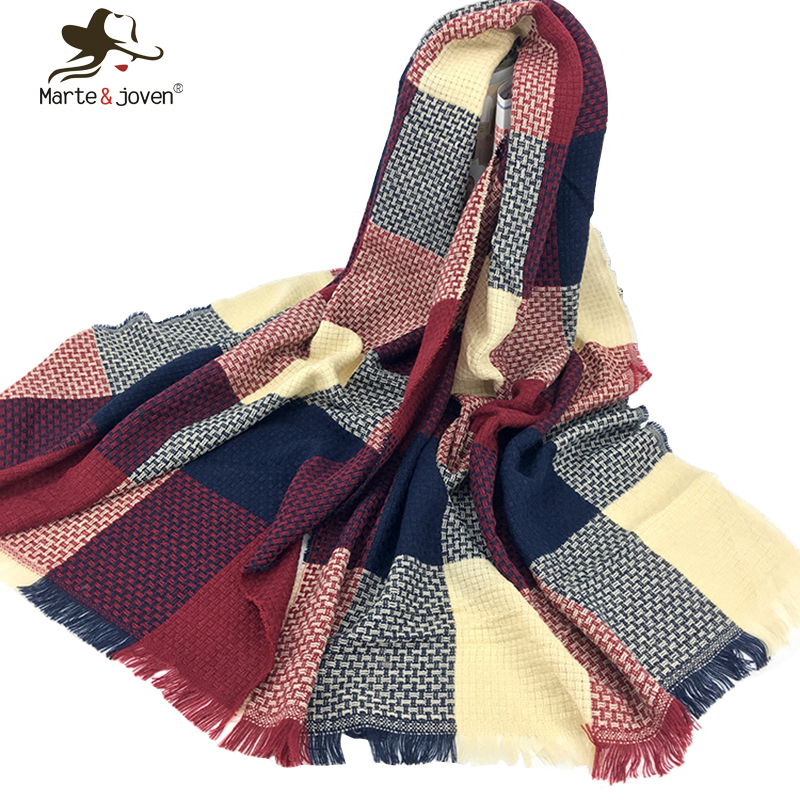 Marte Joven Winter Geometric Plaid Knitted Scarf for Women Soft Warm Woolen Scarf and Wrap