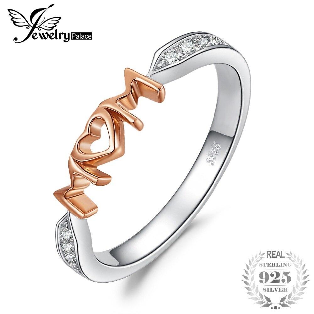 5c8c2dc2636e JewelryPalace mamá Cubic Zirconia anillo de Plata de Ley 925 de oro rosa de  las mujeres 2018 anillos de joyería de moda para mujer regalo