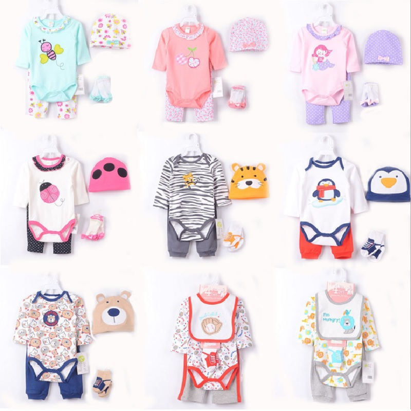 2017 Baby Girls Clothing Sets Ladybug Cute Bebe boy Clothes infant Bodysuits jumpsuit Caps Socks Dot Pants 100% Cotton
