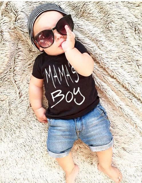 Toddler Summer Kids Baby Boy Clothes Set Cotton Letter Short Sleeve T-Shirt Tops Denim Jeans Shorts Pants 2PCS Outfits Set
