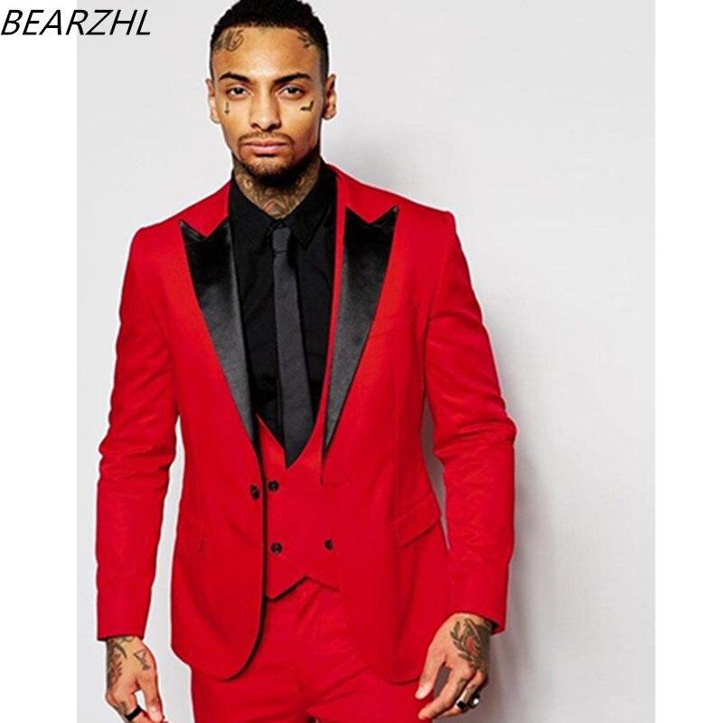Anzüge Stück Männer Formale Für Tailor Bräutigam Abendessen 3 Anzug Prom Rot 2019 Tragen Smoking 1cTK5F3uJl