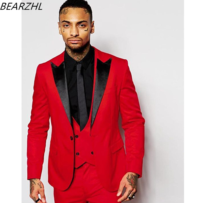Prom Suits For Men Groom Tuxedo Red Tailor Suit Dinner Formal Wear 2019 3 Piece Suit