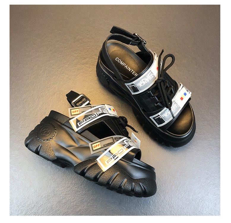 HTB1kwUwONTpK1RjSZR0q6zEwXXa1 2019 Summer Chunky Sandals Women 8cm Wedge High Heels Shoes Female Buckle Platform Leather Casual Summer Slippers Woman Sandal