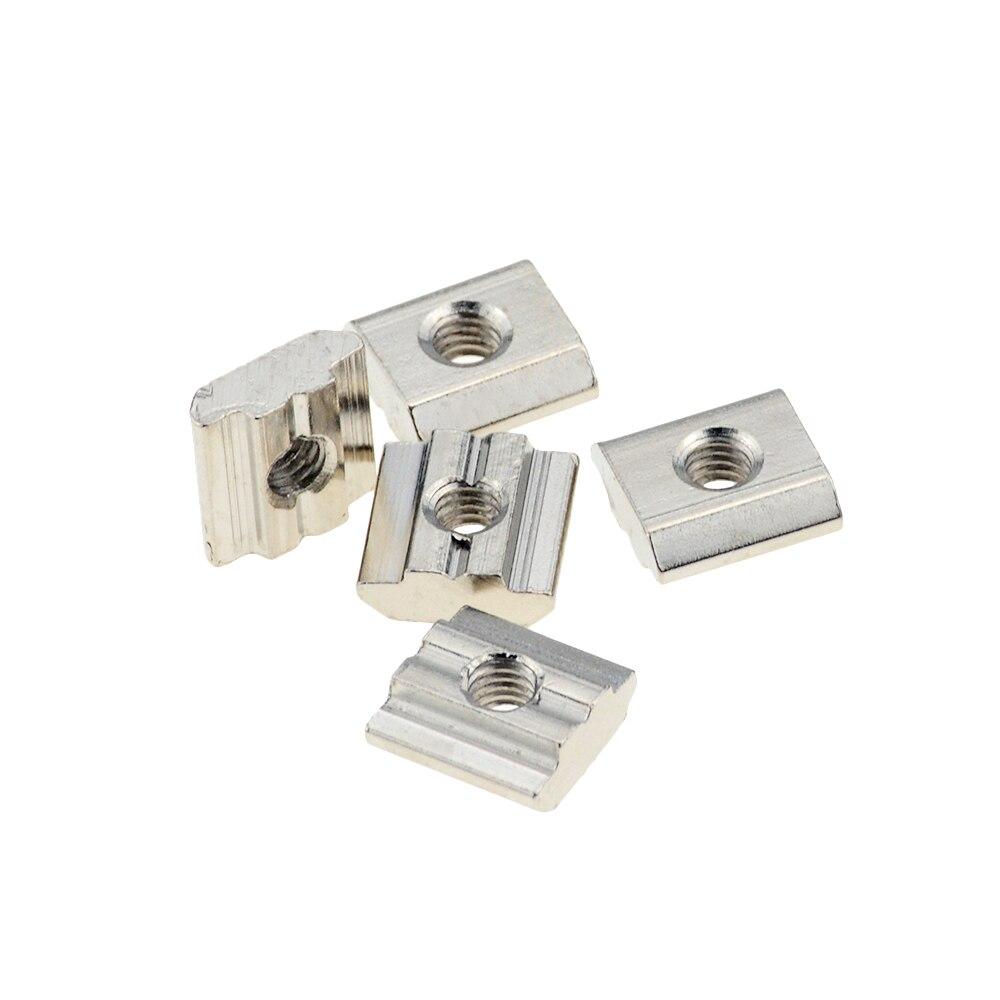 T Sliding Nut Block Square Nuts Nickel Plating  Aluminum For EU Standard 3030 Aluminum Profile Slot For Kossel DIY CNC