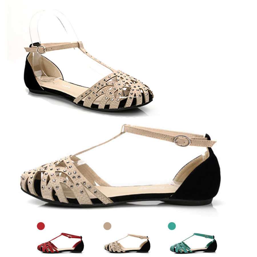 155ee14646a ... 2018 fashion women Flat sandals rhinestone cutout summer shoes High  quality closed toe ladies shoes female ...