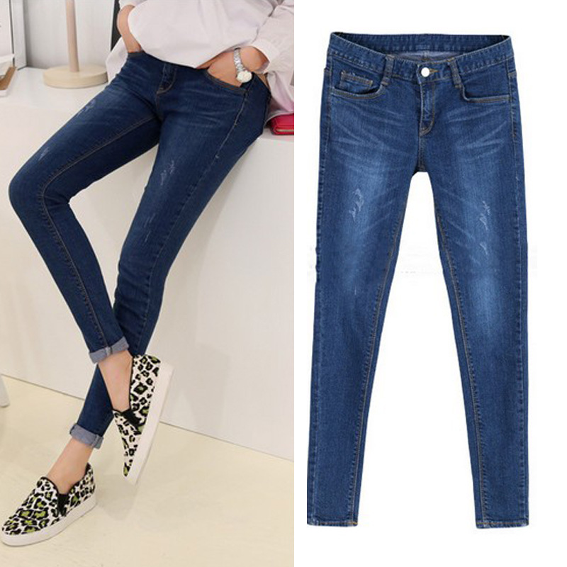 Spijkerbroeken Dames blue high waist pants pencil slim women denim distressed skinny ladies ripped jeans plus size XXXL 4XL 5XL 4xl plus size high waist elastic jeans thin skinny pencil pants sexy slim hip denim pants for women euramerican
