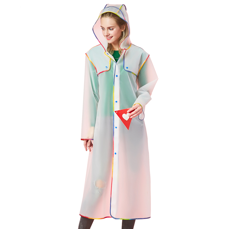 Fashion adult waterproof thick plastic women long Impermeable raincoat jacket men Portable Outdoor Travel Rainwear Rain Coats in Raincoats from Home Garden
