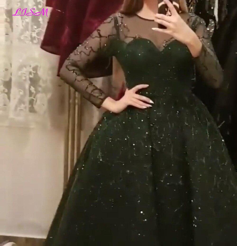 Noir Vintage o-cou manches longues robes de soirée 2019 robe de bal dentelle perlée Empire robes de bal Tulle robe formelle femmes élégant
