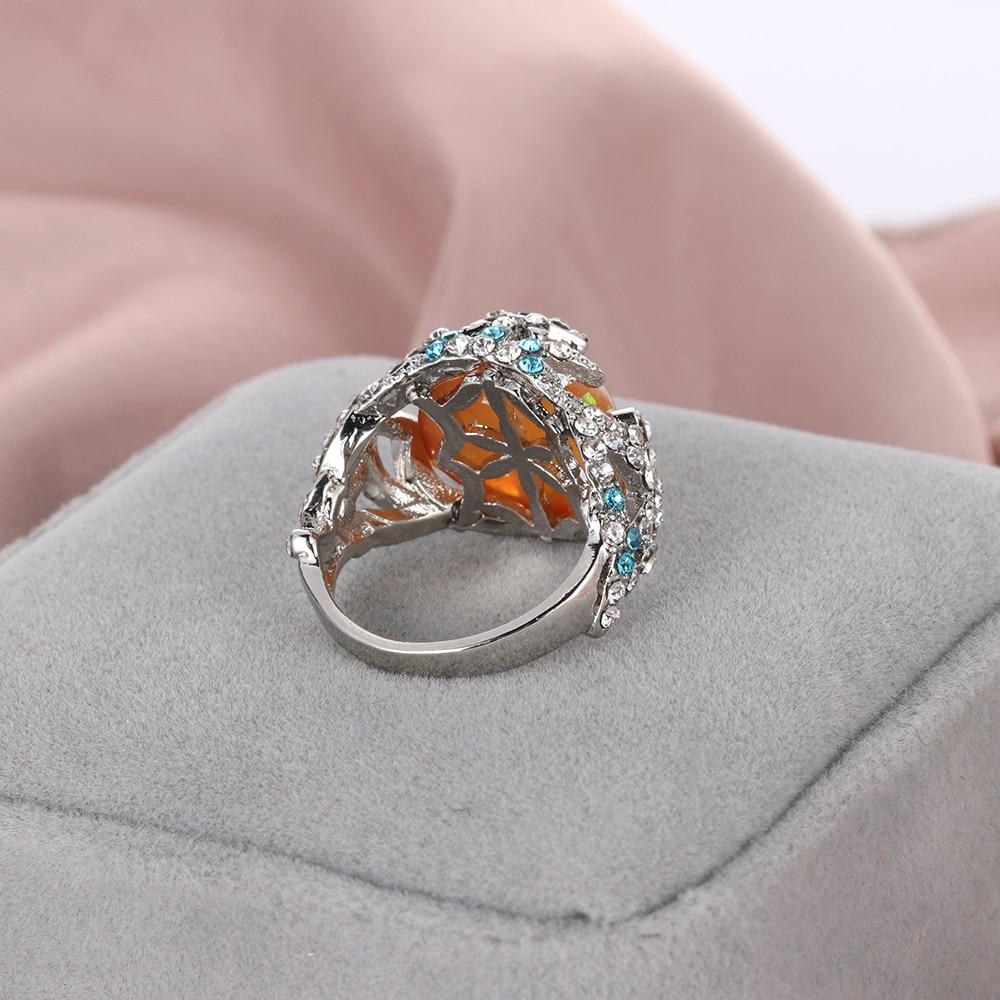 925 Silver Orange Fire Opal Starfish Wedding Engagement Bridal Rings Size 6-10