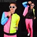 Envío gratis! nueva moda multicolor neón Patchwork de cuero de moda chaqueta de béisbol de teatro de hombre trajes / M-XL