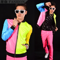 Free Shipping !!! New Fashion Multicolour Neon Patchwork Leather Baseball Jacket Fashion Men's Stage Costumes / M-XL