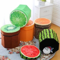 Wood Fruits Pattern Folding MDF Material Home Storage Box Clothes Toy Organizer Small Seat Octagonal Stool