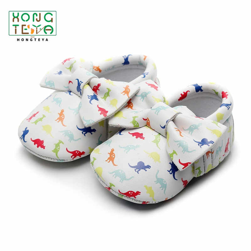 Baby Pu Leather Dinosaur Printing Soft Sole Shoes With Bow Infant Toddler Fringe First Walkers Crib Shoes for Baby Girl Boy0-24M