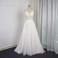 Szata De Mariage Vestido De Novia Linia Light Koronki Suknie Ślubne Illusion Gorset Low Back Unikalne Bridal Togi