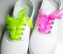 Fashion Princess Shoe laces Strings Multi Color Ribbon Shoe Laces Chiffon Shoelaces Adult & Child Sizes for sneaker