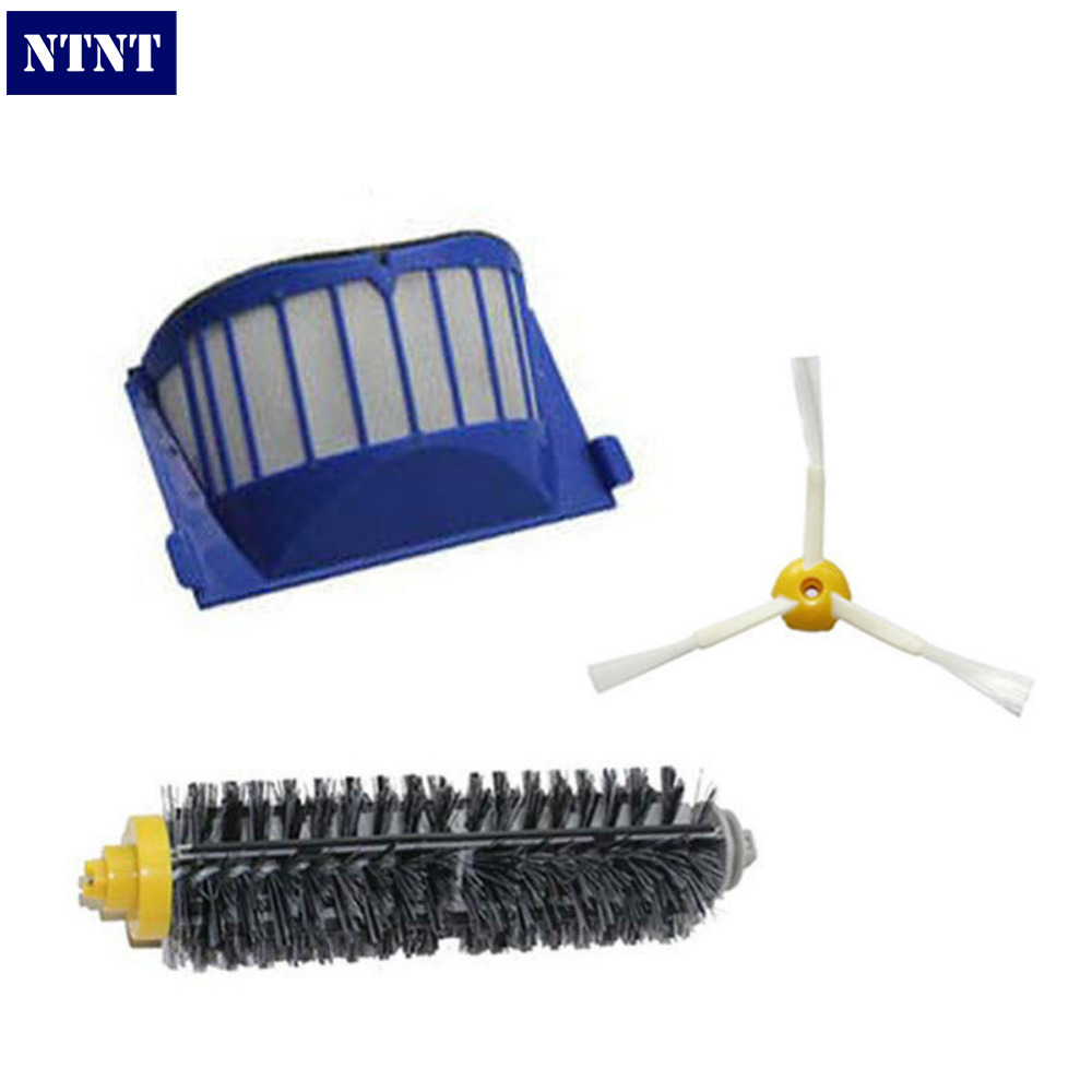 NTNT Free Post New AeroVac Filter Bristle Brush for iRobot Roomba 600 Series 620 630 650 660 3 arms ntnt replacement brush filter kit for irobot roomba aerovac 600 series 620 630 650 660