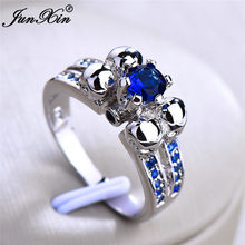 Punk Female Blue Stone Ring Retro Vintage 925 Silver Skull Ring Vintage Party Wedding Rings September Birstone Jewelry Gifts(China)
