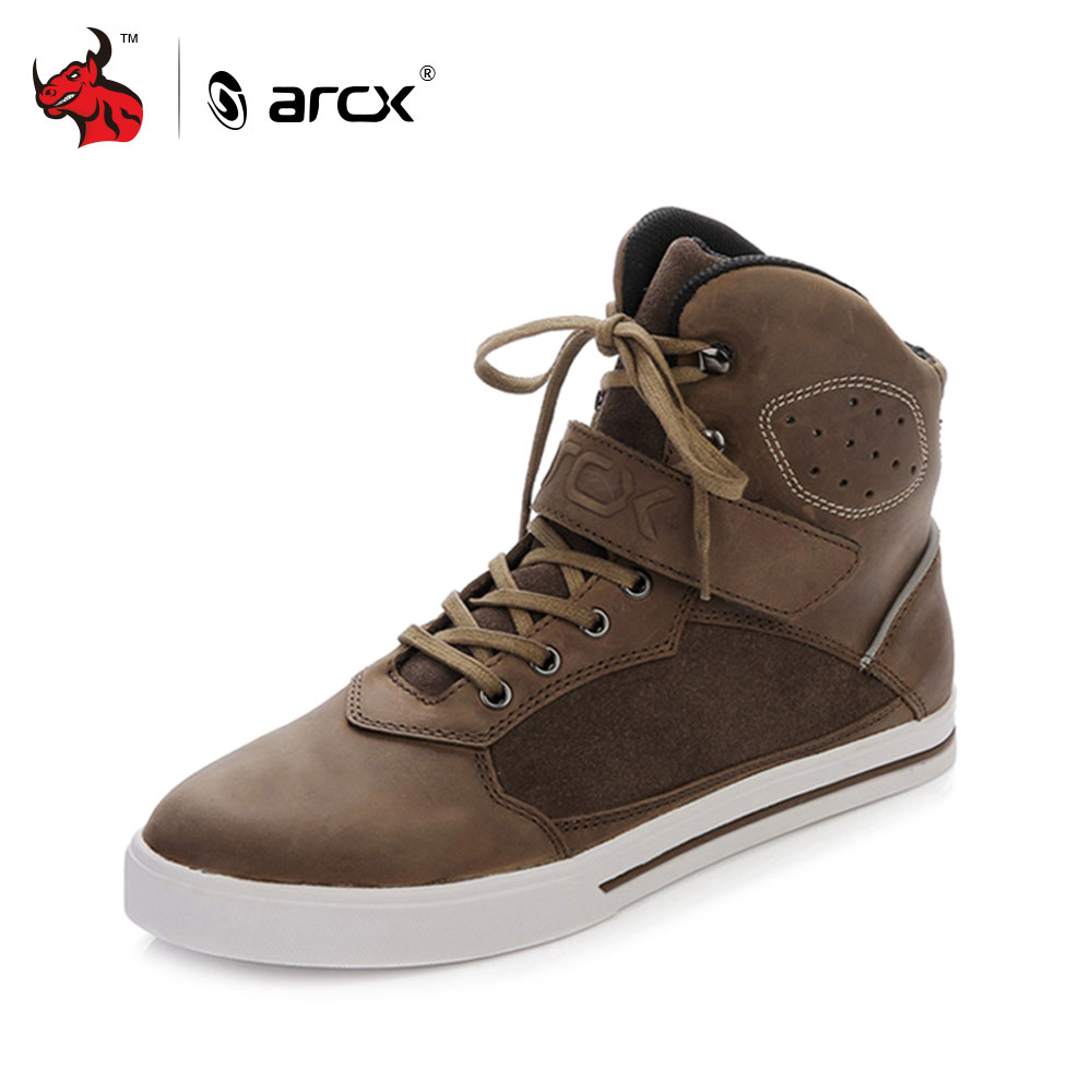 ARCX Motorcycle Vintage Leisure Shoes Cow Leather Street Moto Racing Motorbike Chopper Cruiser Touring Biker Riding Ankle Boots