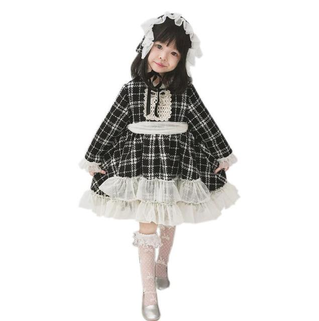 2018 Baby Kids Boutique Fall Plaid Mesh Dresses With Hat, Princess Girls  Elegant Court Party Dress 5 pcs/lot,Wholesale-in Dresses from Mother & Kids