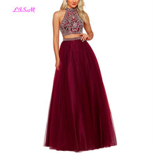 Two Pieces Long Tulle Prom Dress for Women Beaded Crystals Formal Party Gown Open Back Floor Length Evening Dress robe de soiree