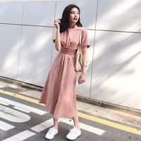 French Style Short Sleeve Elegant Long Dress Women Brief Artistic Vintage Dresses Mori Girl Woman Cloth Light Pink Clothing