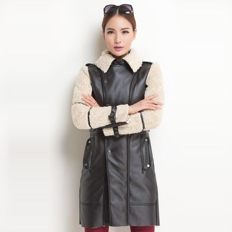 2016 British Long Fur Leather Jackets Suede Biker Warm Designer Shearling Coats Zip Winter Parkas Inverno Feminino Size S M L