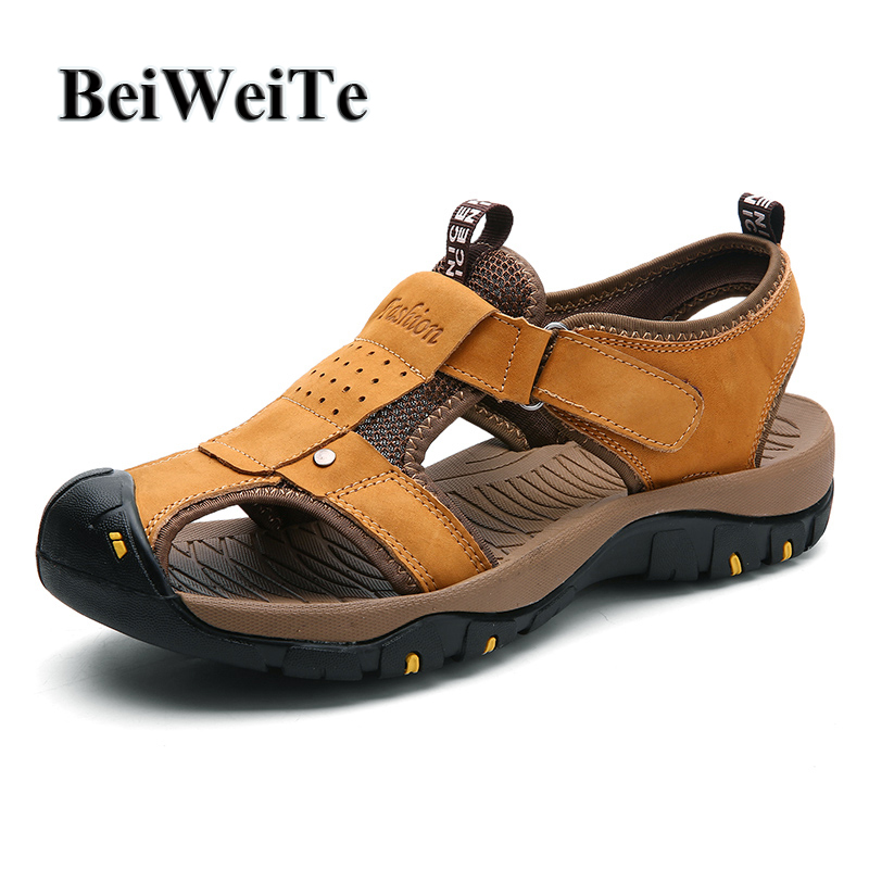 BeiWeiTe Summer Mens Leisure Outdoor Sandals Safety Closed Toe Anti-skid Breathable Beach Shoes Man Wearable Walking Shoes Hot