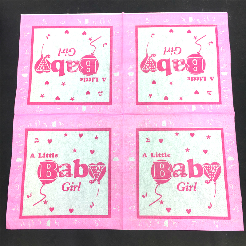 10pcs A Little Baby boy girl Paper Napkin Virgin Wood birthday Tissue Bar coffee hotel Party Decoration in Disposable Party Tableware from Home Garden