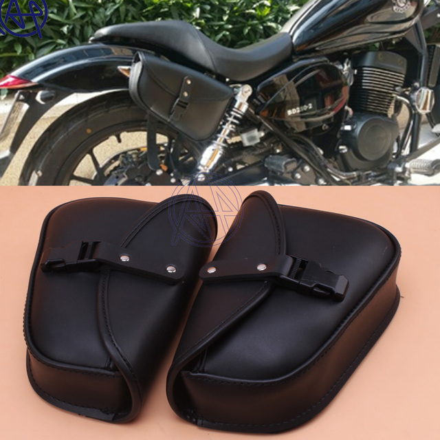 1pair New Black Pu Leather Motorcycle Luggage Bags Saddlebags Saddle Pouch Tool Universal Fit