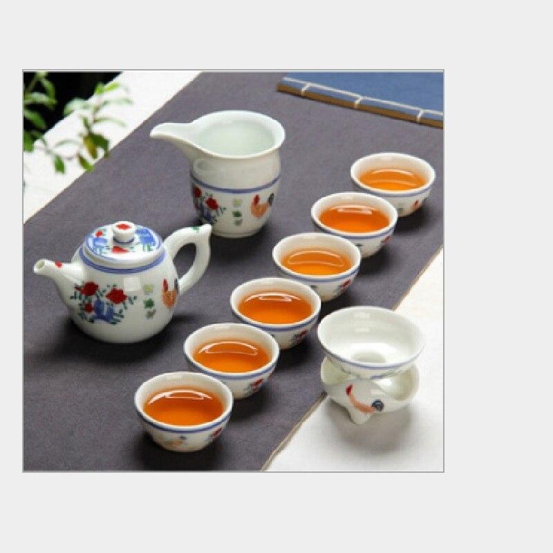 Jingdezhen antique peint à la main Ming Chenghua poulet seau couleur cylindre tasse thé set Kung Fu céramique cadeaux