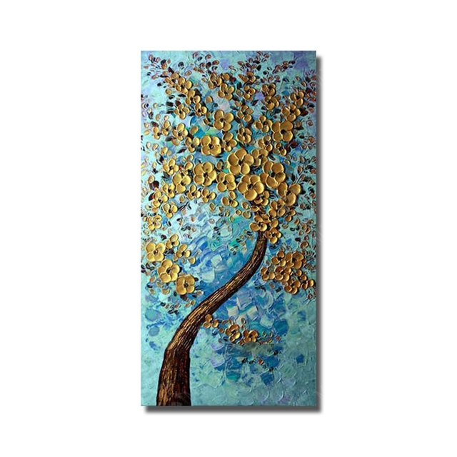 Free Shipping 100% Hand-painted Oil Painting Abstract Golden Flower Tree Home Decorates Pictures For Living Room Wall No Framed