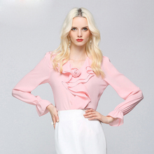 2017 Women Chiffon Blouses Shirt Tops Sexy Ladies Floral Office Clothing Ruffle Casual Boho Streetwear Sweet Crop Vintage Shirts