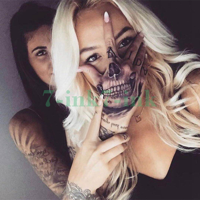 Waterproof Temporary Tatoo Sticker Hand Painted Cool Dark Skull Face