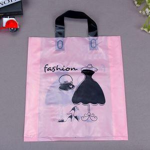 Image 2 - Оптовая продажа, 500 шт./лот, бутик с индивидуальным принтом логотипа, высококачественные пластиковые пакеты для покупок с ручкой, одежда, подарочные пакеты для упаковки