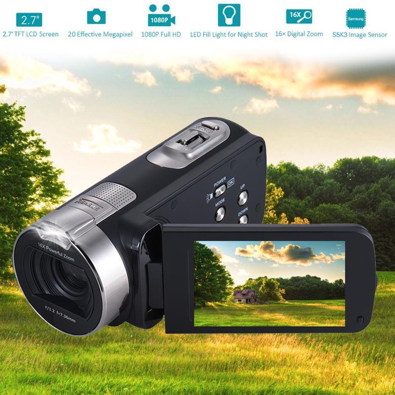 2.7 Inch 1080P HDV-312P Digital Video Camera 24 million Pixels Portable Home-use DV LCD Screen Digital Camera US/UK/EU Plug H