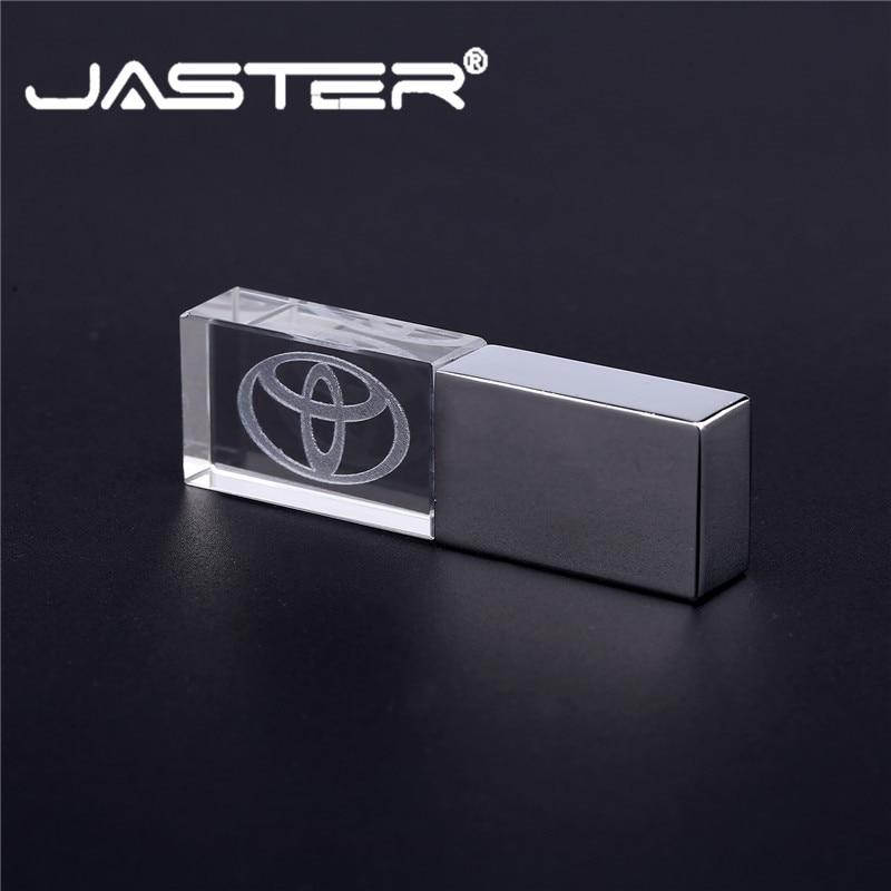 JASTER TOYOTA Crystal + Metal USB Flash Drive Pendrive 4GB 8GB 16GB 32GB 64GB 128GB External Storage Memory Stick USB 2.0