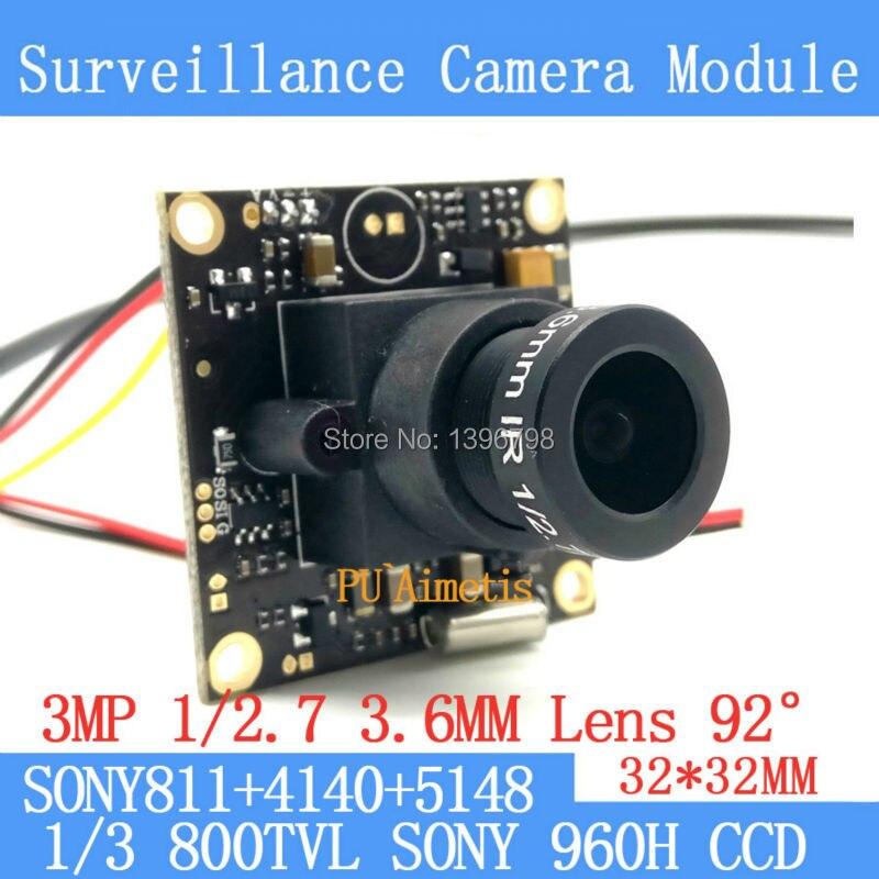 32*32mm caméra de Surveillance 800TVL 1/3 Effio CCD Sony 811 + 4140 + 5148 CCTV caméra module, 3MP + 3.6mm lentille 92 degrés + BNC/OSDCable