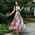 2016 Summer Fashion Elegant V Neck Print Long Dress High Waist S-4XL Plus Size Bohemian Long Dress Short Sleeve Chiffon Dress