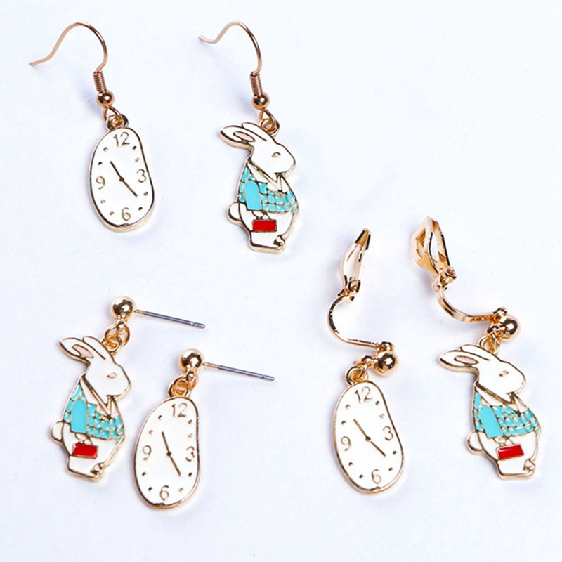 Cute Watches Rabbit Asymmetrical Earrings Ear clips Ear hooks New Design Retro Cartoon Rabbit Stud Earrings Girls Jewelry Gift