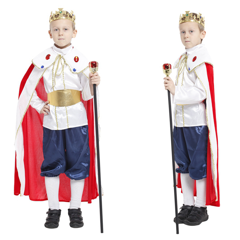 Halloween children's The king prince with crown cosplay costume masquerade party performance clothes show costume dress up